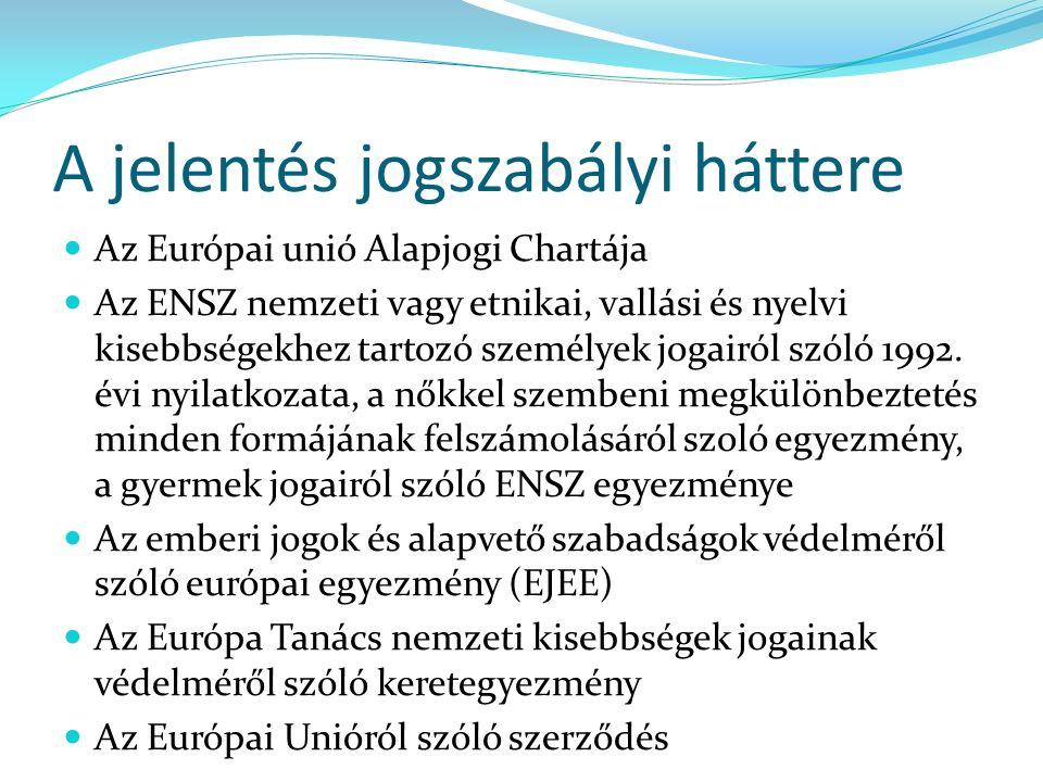 A jelentés jogszabályi háttere Az Európai unió Alapjogi Chartája Az ENSZ nemzeti vagy etnikai, vallási és nyelvi kisebbségekhez tartozó személyek jogairól szóló 1992.