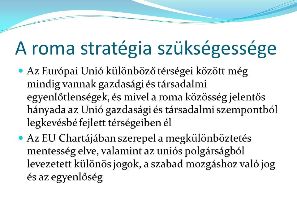 A roma stratégia szükségessége Az Európai Unió különböző térségei között még mindig vannak gazdasági és társadalmi egyenlőtlenségek, és mivel a roma közösség jelentős hányada az Unió gazdasági és társadalmi szempontból legkevésbé fejlett térségeiben él Az EU Chartájában szerepel a megkülönböztetés mentesség elve, valamint az uniós polgárságból levezetett különös jogok, a szabad mozgáshoz való jog és az egyenlőség