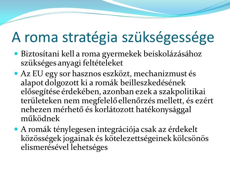 A roma stratégia szükségessége Biztosítani kell a roma gyermekek beiskolázásához szükséges anyagi feltételeket Az EU egy sor hasznos eszközt, mechanizmust és alapot dolgozott ki a romák beilleszkedésének elősegítése érdekében, azonban ezek a szakpolitikai területeken nem megfelelő ellenőrzés mellett, és ezért nehezen mérhető és korlátozott hatékonysággal működnek A romák ténylegesen integrációja csak az érdekelt közösségek jogainak és kötelezettségeinek kölcsönös elismerésével lehetséges