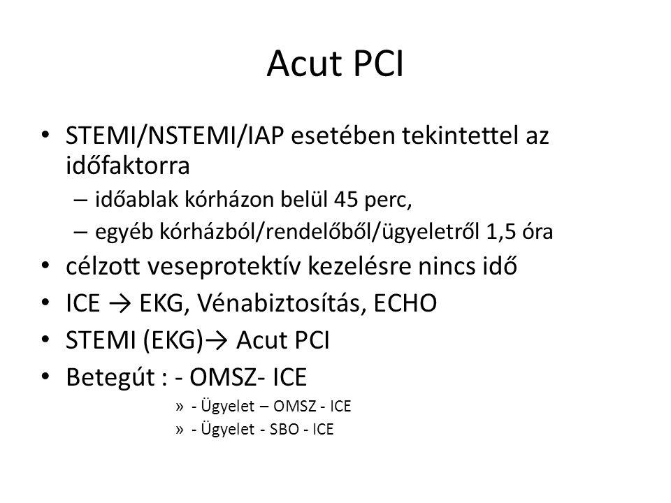 Acut PCI STEMI/NSTEMI/IAP esetében tekintettel az időfaktorra – időablak kórházon belül 45 perc, – egyéb kórházból/rendelőből/ügyeletről 1,5 óra célzott veseprotektív kezelésre nincs idő ICE → EKG, Vénabiztosítás, ECHO STEMI (EKG)→ Acut PCI Betegút : - OMSZ- ICE » - Ügyelet – OMSZ - ICE » - Ügyelet - SBO - ICE