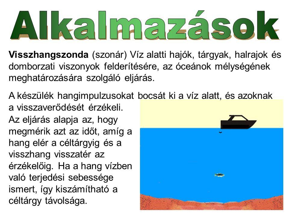 Visszhangszonda (szonár) Víz alatti hajók, tárgyak, halrajok és domborzati viszonyok felderítésére, az óceánok mélységének meghatározására szolgáló eljárás.