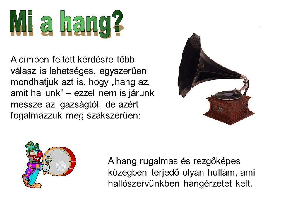 Az ember által hallható hang frekvenciatartománya: 20 Hz és 16 kHz közé esik.