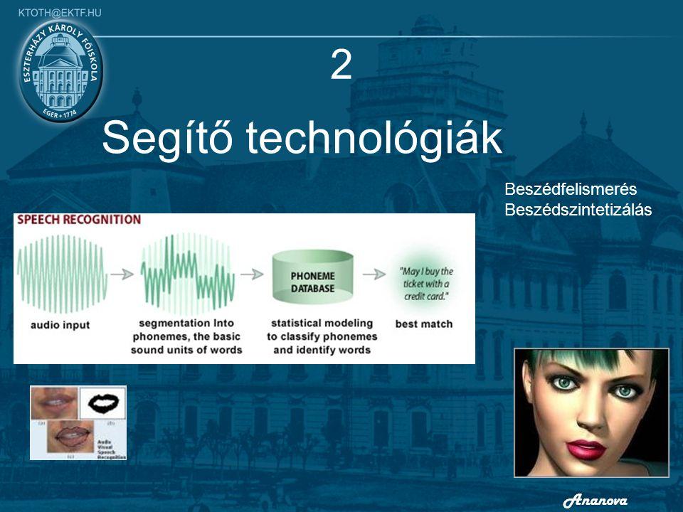 2 Segítő technológiák Beszédfelismerés Beszédszintetizálás Ananova