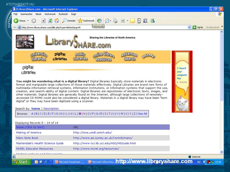 7 Digitális könyvtárak Szöveg Video Kép Animáció http://www.libraryshare.com