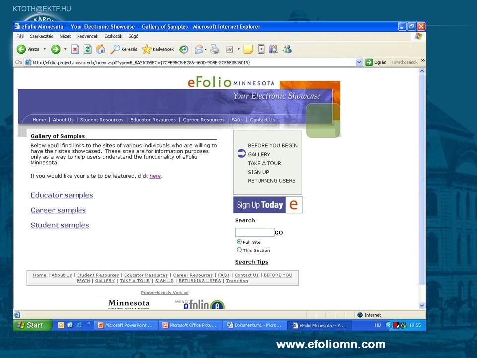 8 Digitális portfoliók www.efoliomn.com
