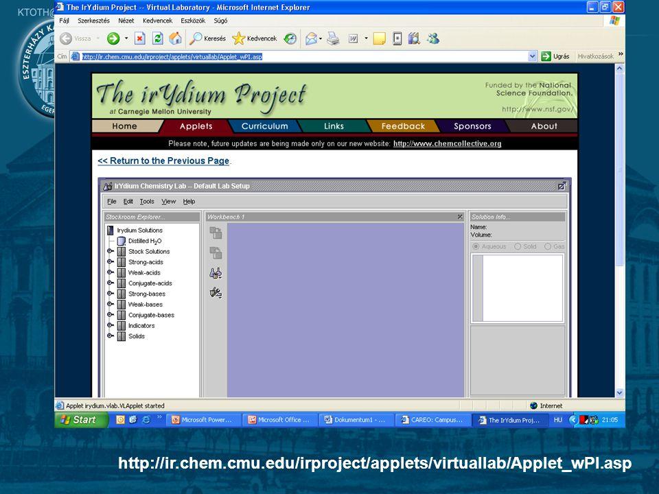 10 Játékok és szimulációk http://ir.chem.cmu.edu/irproject/applets/virtuallab/Applet_wPI.asp