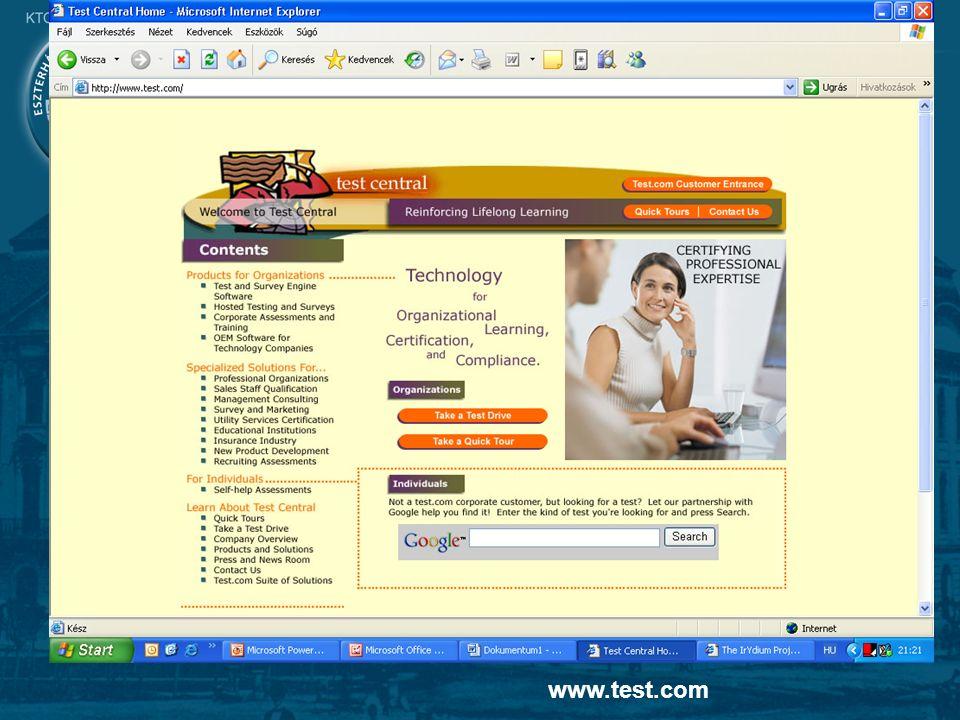 17 On-line alapú vizsgáztatás tesztelés www.test.com