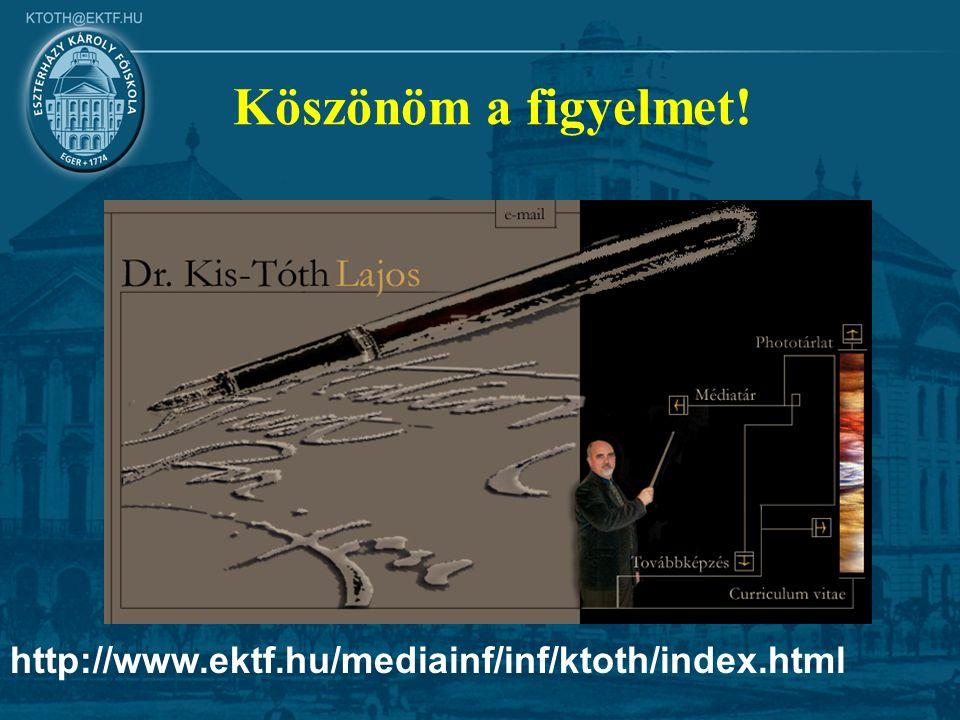 http://www.ektf.hu/mediainf/inf/ktoth/index.html Köszönöm a figyelmet!