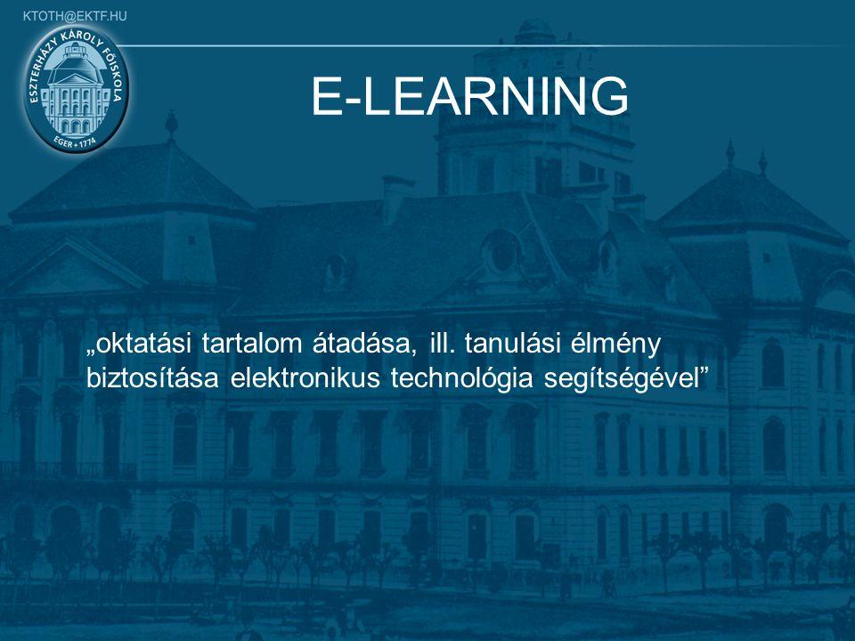 """E-LEARNING """"oktatási tartalom átadása, ill."""