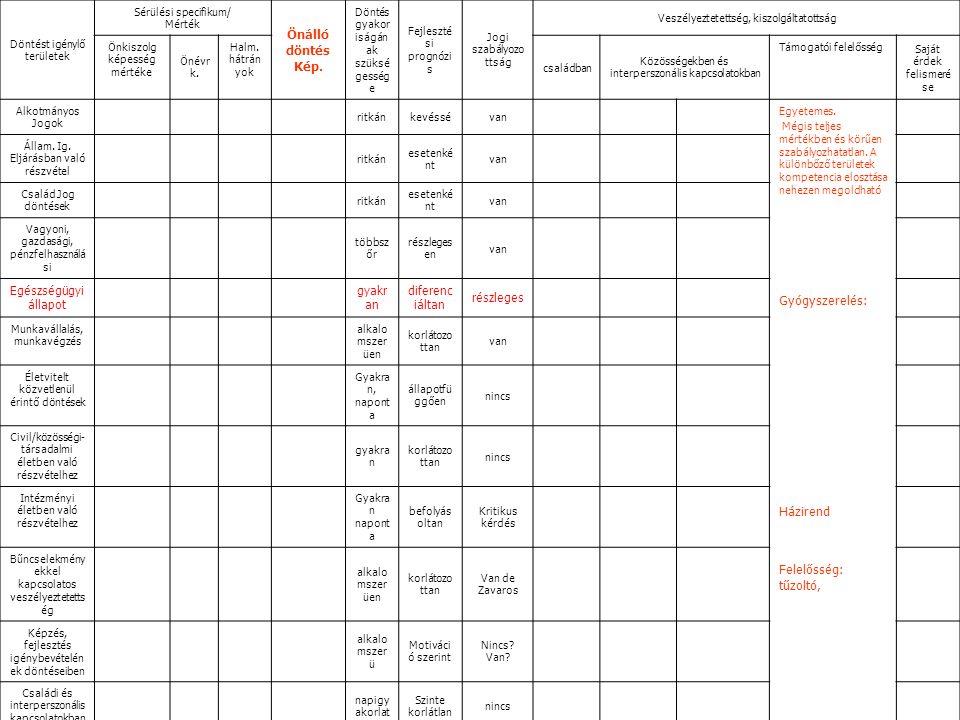 Döntést igénylő területek Sérülési specifikum/ Mérték Önálló döntés Kép.