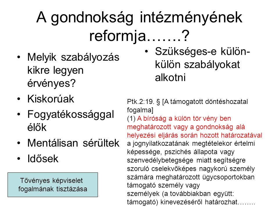 A gondnokság intézményének reformja…….. Melyik szabályozás kikre legyen érvényes.