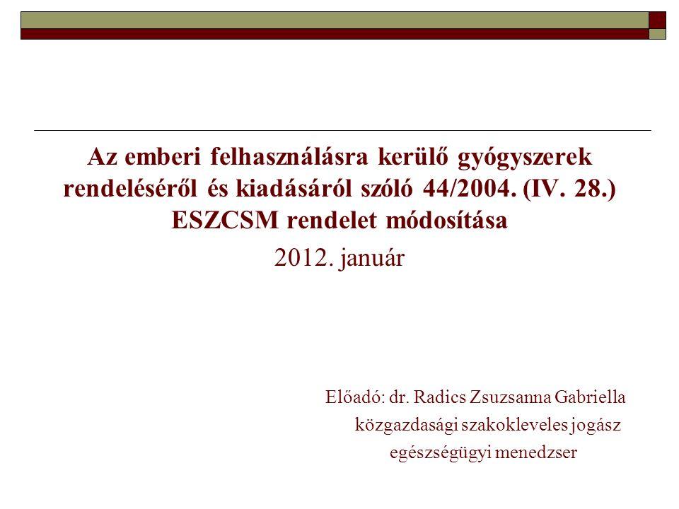 Az emberi felhasználásra kerülő gyógyszerek rendeléséről és kiadásáról szóló 44/2004.