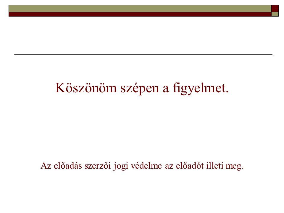 Köszönöm szépen a figyelmet. Az előadás szerzői jogi védelme az előadót illeti meg.