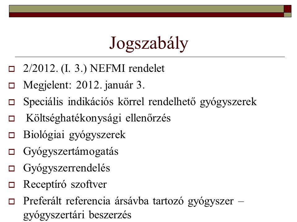 Jogszabály  2/2012. (I. 3.) NEFMI rendelet  Megjelent: 2012.