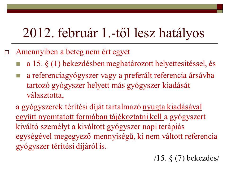 2012. február 1.-től lesz hatályos  Amennyiben a beteg nem ért egyet a 15.
