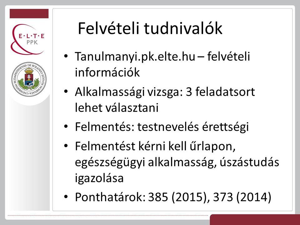 Felvételi tudnivalók Tanulmanyi.pk.elte.hu – felvételi információk Alkalmassági vizsga: 3 feladatsort lehet választani Felmentés: testnevelés érettségi Felmentést kérni kell űrlapon, egészségügyi alkalmasság, úszástudás igazolása Ponthatárok: 385 (2015), 373 (2014)