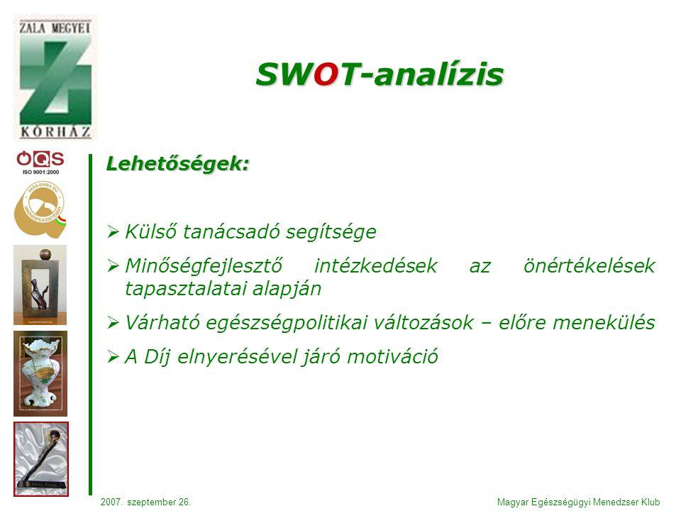 Lehetőségek:  Külső tanácsadó segítsége  Minőségfejlesztő intézkedések az önértékelések tapasztalatai alapján  Várható egészségpolitikai változások – előre menekülés  A Díj elnyerésével járó motiváció SWOT-analízis Magyar Egészségügyi Menedzser Klub2007.