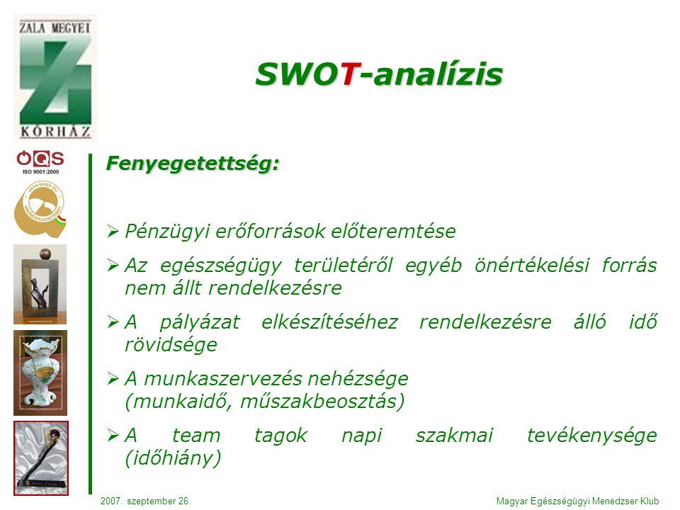 Fenyegetettség:  Pénzügyi erőforrások előteremtése  Az egészségügy területéről egyéb önértékelési forrás nem állt rendelkezésre  A pályázat elkészítéséhez rendelkezésre álló idő rövidsége  A munkaszervezés nehézsége (munkaidő, műszakbeosztás)  A team tagok napi szakmai tevékenysége (időhiány) SWOT-analízis Magyar Egészségügyi Menedzser Klub2007.