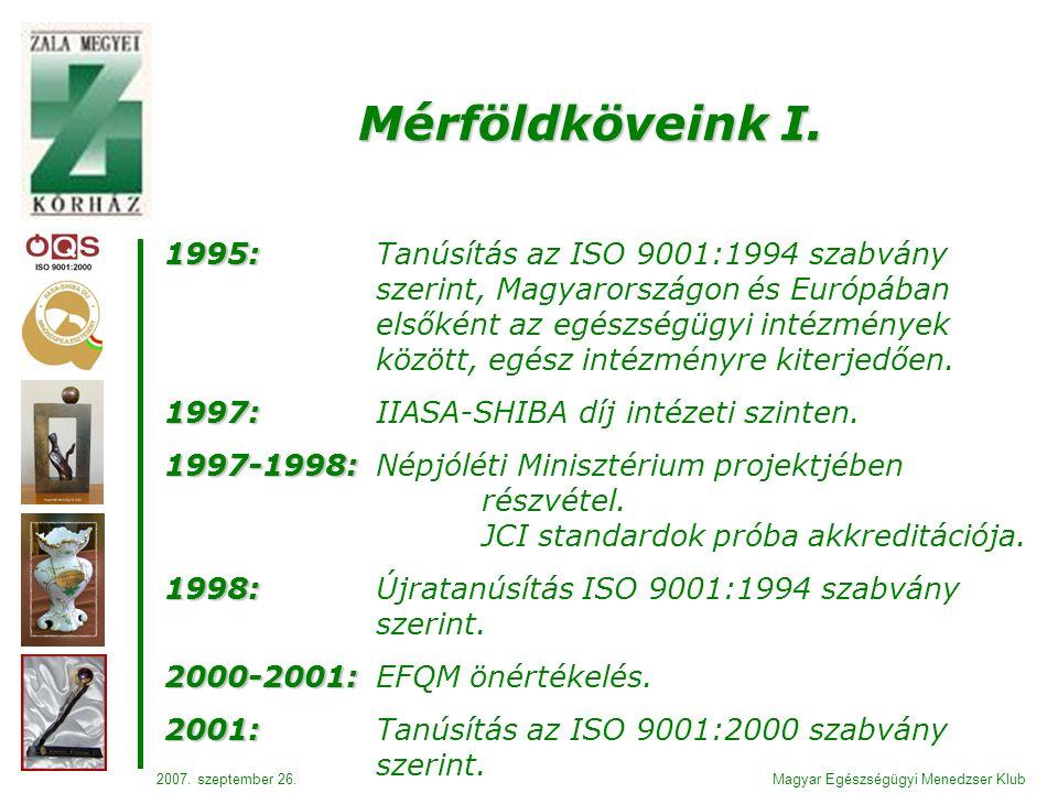 1995: 1995: Tanúsítás az ISO 9001:1994 szabvány szerint, Magyarországon és Európában elsőként az egészségügyi intézmények között, egész intézményre kiterjedően.