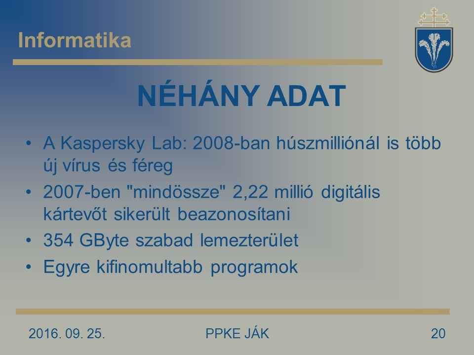2016. 09. 25.PPKE JÁK20 NÉHÁNY ADAT A Kaspersky Lab: 2008-ban húszmilliónál is több új vírus és féreg 2007-ben