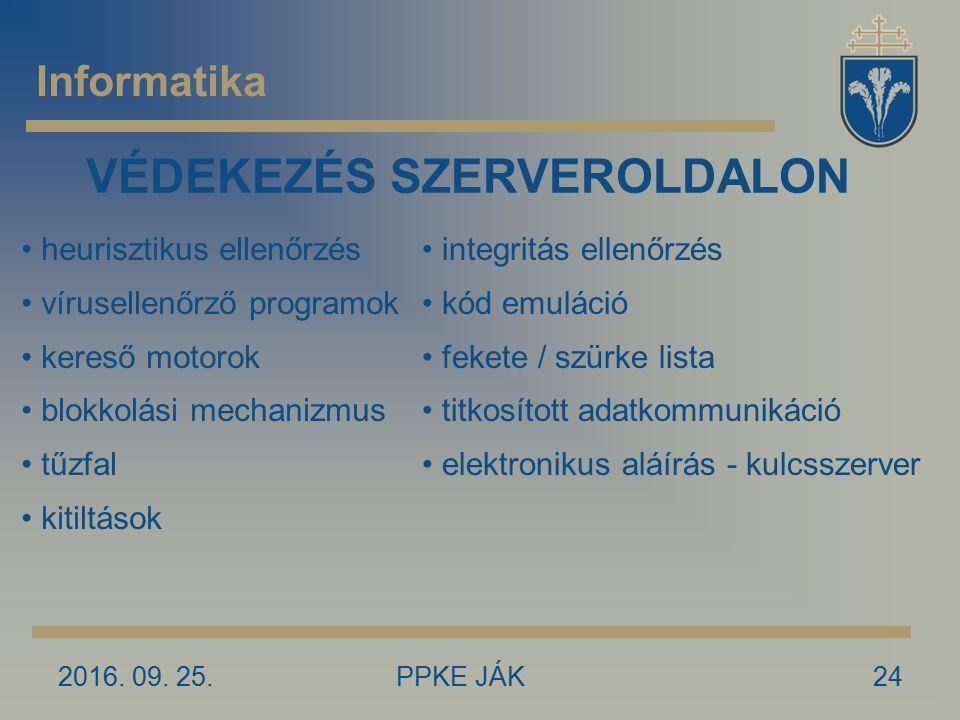 2016. 09. 25.PPKE JÁK24 Informatika VÉDEKEZÉS SZERVEROLDALON heurisztikus ellenőrzés vírusellenőrző programok kereső motorok blokkolási mechanizmus tű