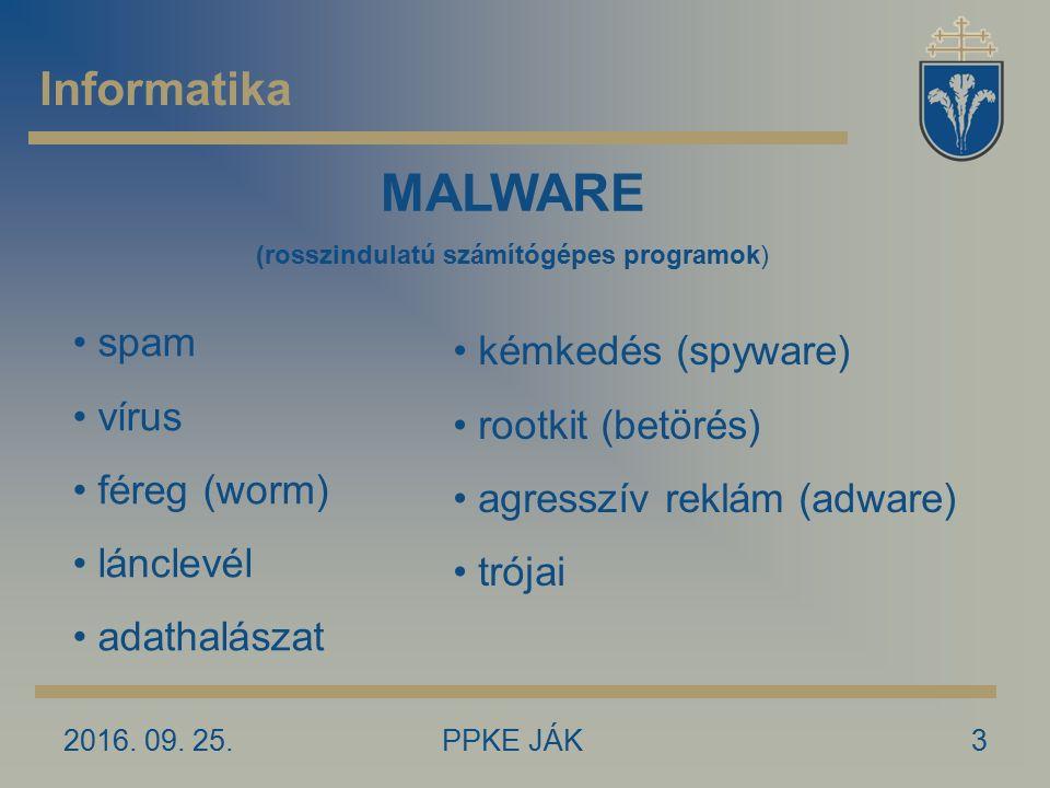 2016. 09. 25.PPKE JÁK3 Informatika MALWARE (rosszindulatú számítógépes programok) spam vírus féreg (worm) lánclevél adathalászat kémkedés (spyware) ro