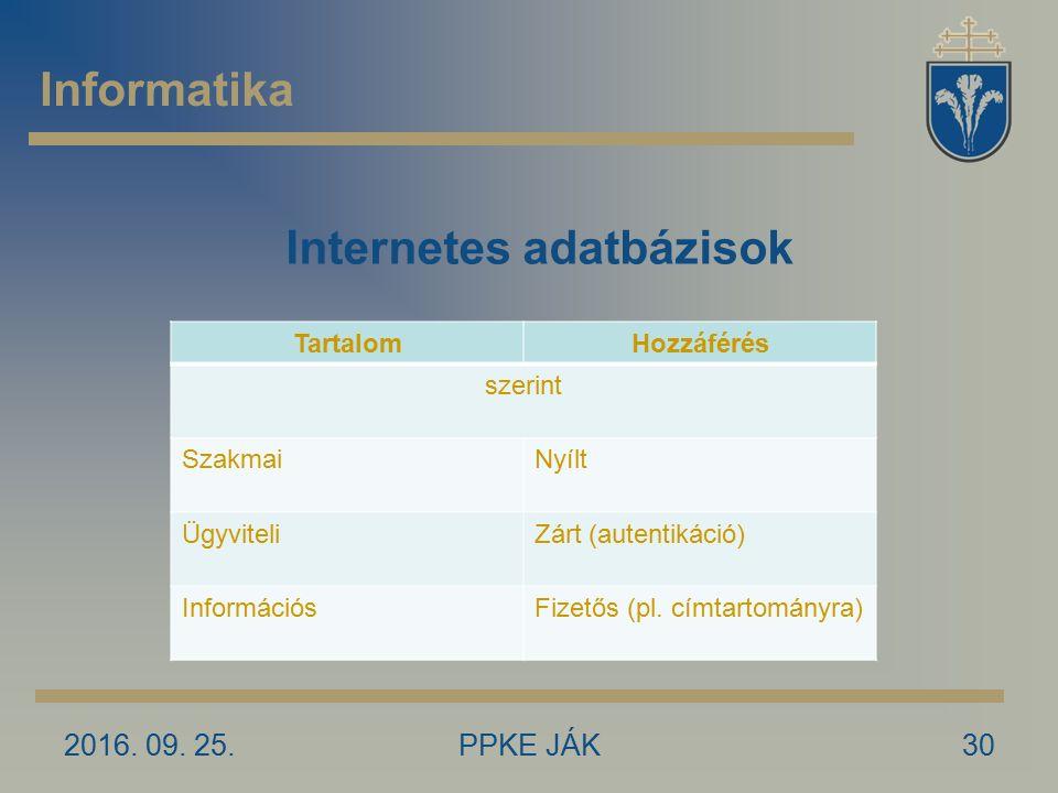 2016. 09. 25.PPKE JÁK30 Informatika Internetes adatbázisok TartalomHozzáférés szerint SzakmaiNyílt ÜgyviteliZárt (autentikáció) InformációsFizetős (pl