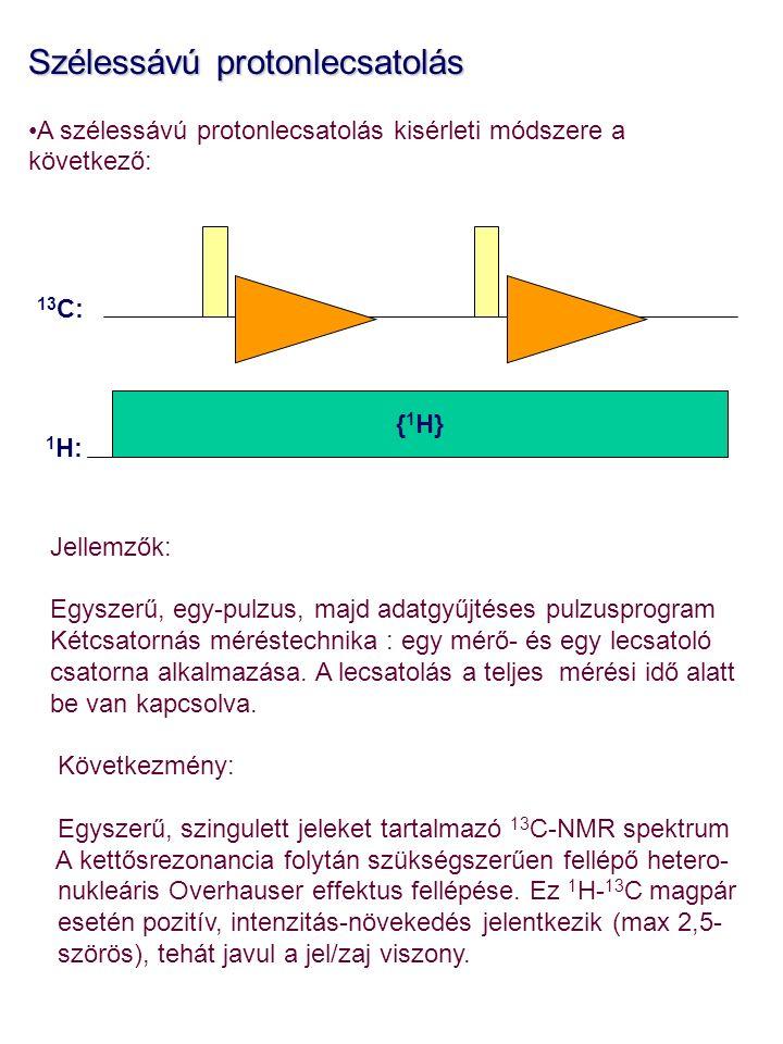 Szélessávú protonlecsatolás A szélessávú protonlecsatolás kisérleti módszere a következő: Jellemzők: Egyszerű, egy-pulzus, majd adatgyűjtéses pulzusprogram Kétcsatornás méréstechnika : egy mérő- és egy lecsatoló csatorna alkalmazása.