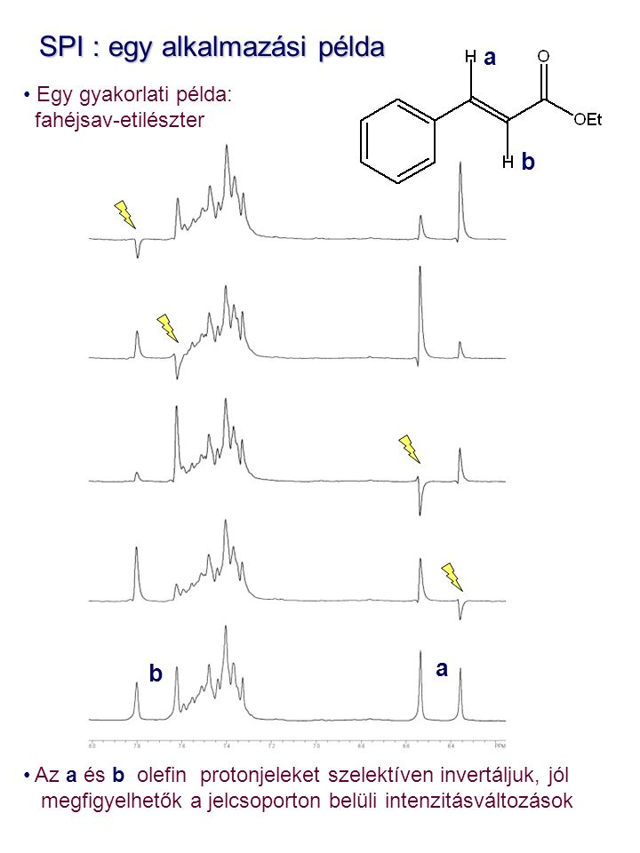 SPI : egy alkalmazási példa SPI : egy alkalmazási példa Egy gyakorlati példa: fahéjsav-etilészter Az a és b olefin protonjeleket szelektíven invertáljuk, jól megfigyelhetők a jelcsoporton belüli intenzitásváltozások a b b a