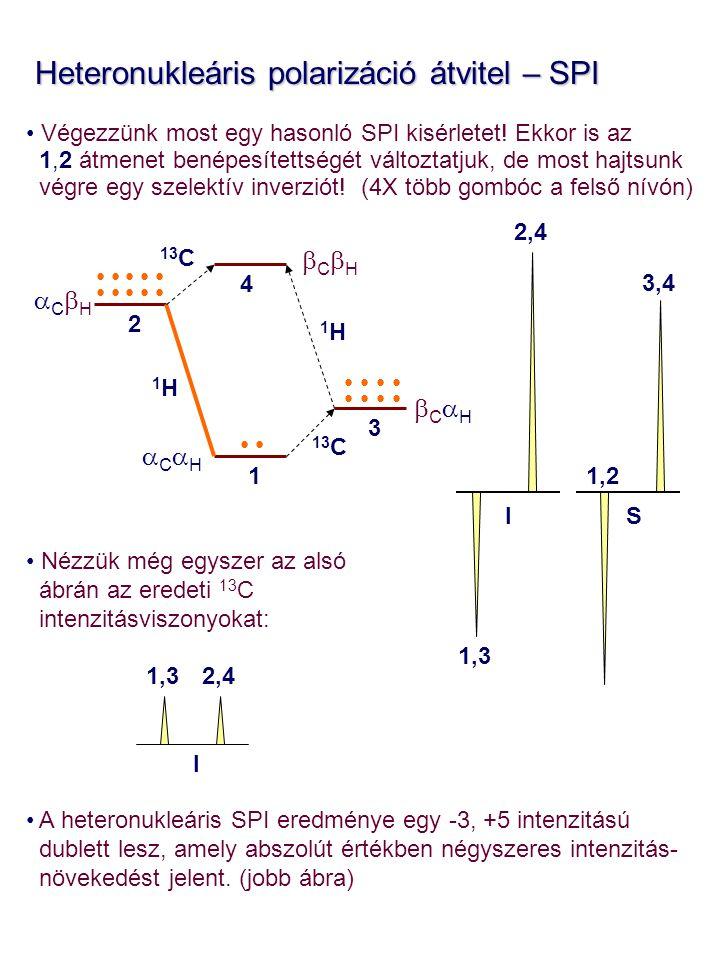 1,2 3,4 1,3 2,4 I S Heteronukleáris polarizáció átvitel – SPI Heteronukleáris polarizáció átvitel – SPI Végezzünk most egy hasonló SPI kisérletet.