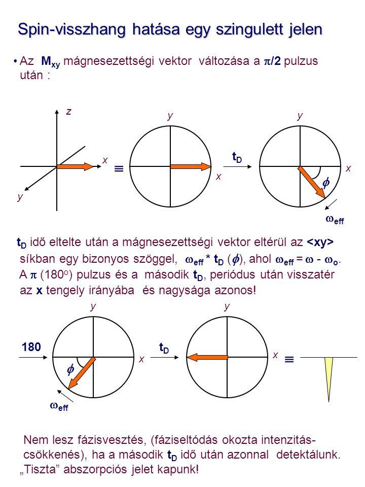 Spin-visszhang hatása egy szingulett jelen Spin-visszhang hatása egy szingulett jelen Az M xy mágnesezettségi vektor változása a  /2 pulzus után : t D idő eltelte után a mágnesezettségi vektor eltérül az síkban egy bizonyos szöggel,  eff * t D (  ), ahol  eff =  -  o.