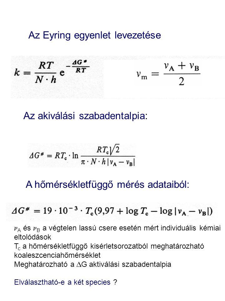 Az Eyring egyenlet levezetése Az akiválási szabadentalpia: A hőmérsékletfüggő mérés adataiból: A és B a végtelen lassú csere esetén mért individuális kémiai eltolódások T c a hőmérsékletfüggő kisérletsorozatból meghatározható koaleszcenciahőmérséklet Meghatározható a  G aktiválási szabadentalpia Elválasztható-e a két species ?
