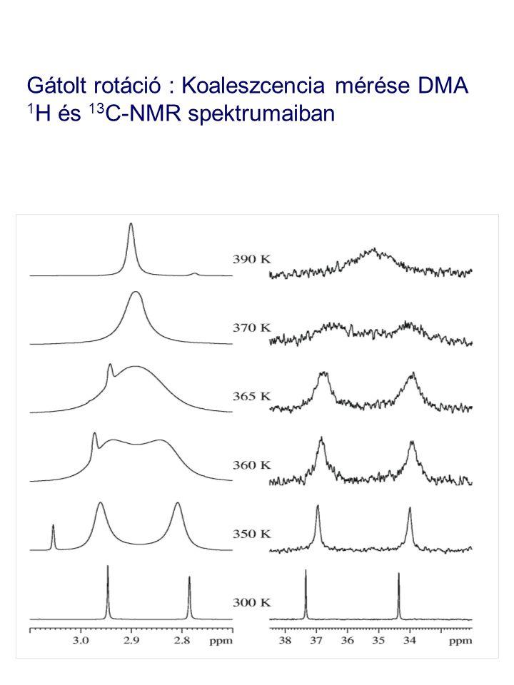 Gátolt rotáció : Koaleszcencia mérése DMA 1 H és 13 C-NMR spektrumaiban