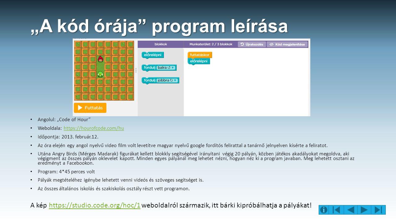 """A kód órája program leírása Angolul: ""Code of Hour Weboldala: https://hourofcode.com/huhttps://hourofcode.com/hu Időpontja: 2013."