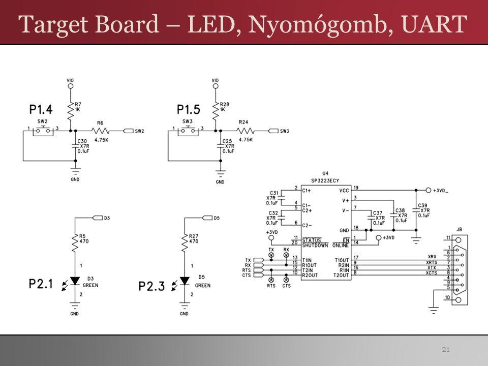 Target Board – LED, Nyomógomb, UART 21