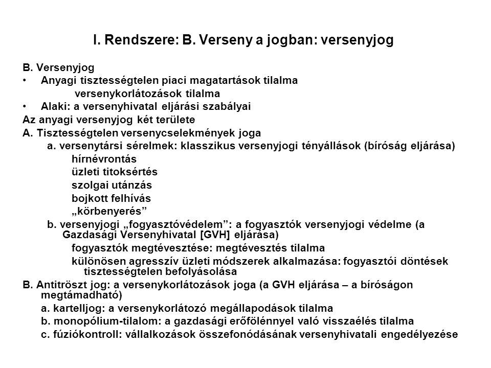 I.Rendszere: B. Verseny a jogban: versenyjog B.