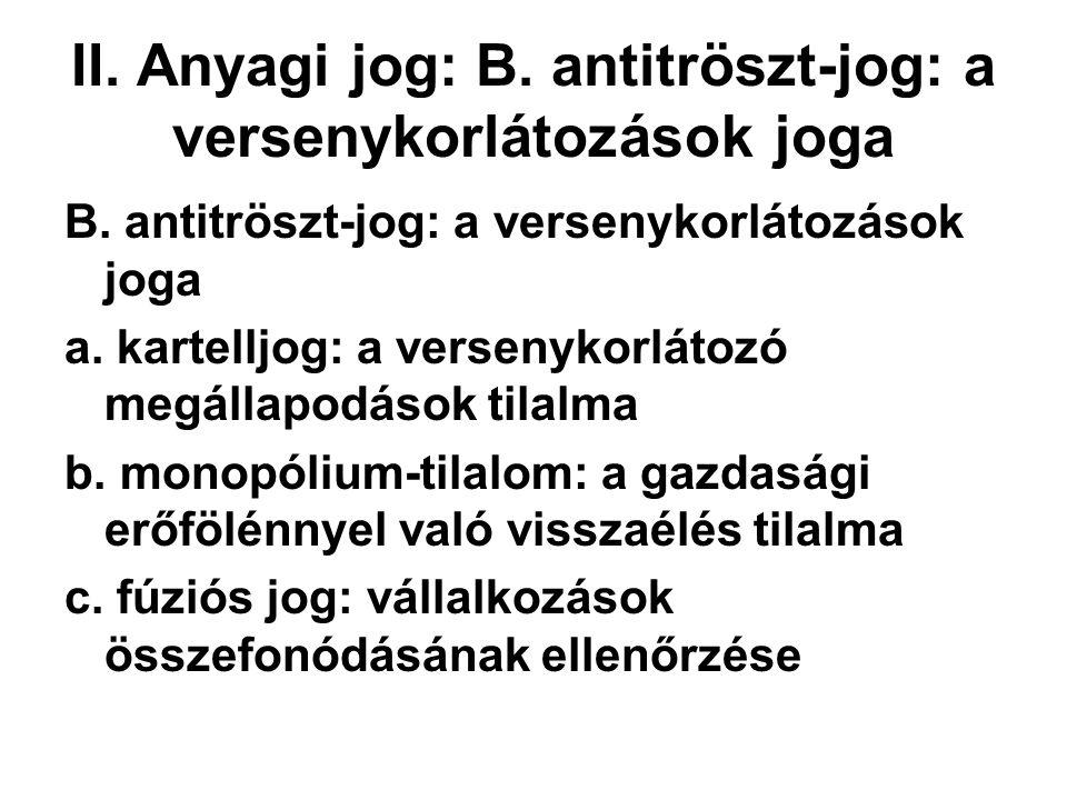 II.Anyagi jog: B. antitröszt-jog: a versenykorlátozások joga B.
