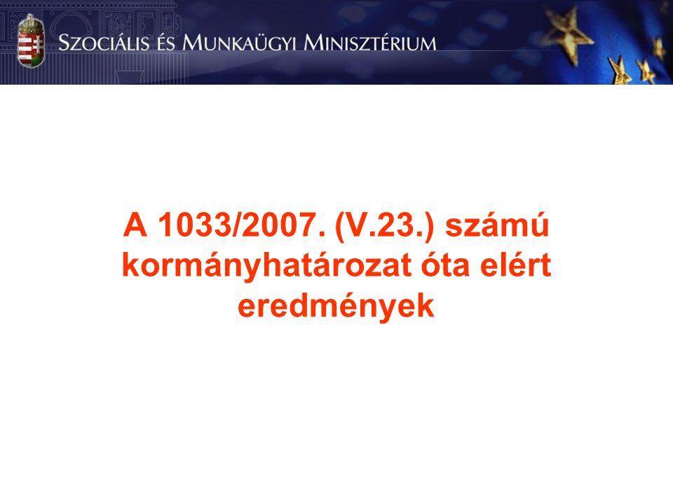 A 1033/2007. (V.23.) számú kormányhatározat óta elért eredmények