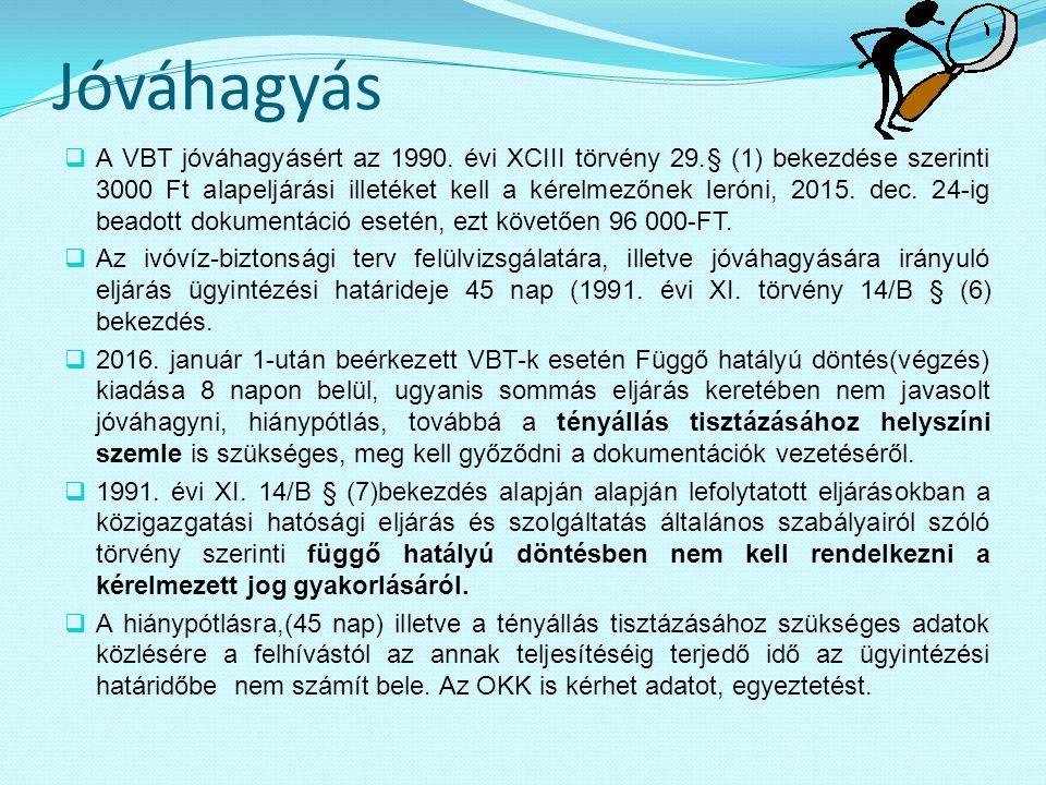 Jóváhagyás  A VBT jóváhagyásért az 1990. évi XCIII törvény 29.§ (1) bekezdése szerinti 3000 Ft alapeljárási illetéket kell a kérelmezőnek leróni, 201