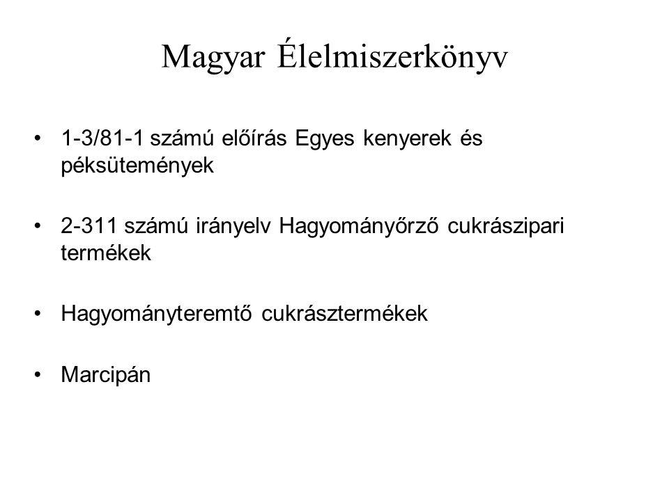 Magyar Élelmiszerkönyv 1-3/81-1 számú előírás Egyes kenyerek és péksütemények 2-311 számú irányelv Hagyományőrző cukrászipari termékek Hagyományteremtő cukrásztermékek Marcipán