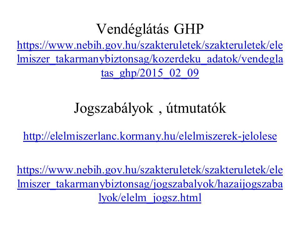 Vendéglátás GHP https://www.nebih.gov.hu/szakteruletek/szakteruletek/ele lmiszer_takarmanybiztonsag/kozerdeku_adatok/vendegla tas_ghp/2015_02_09 https://www.nebih.gov.hu/szakteruletek/szakteruletek/ele lmiszer_takarmanybiztonsag/kozerdeku_adatok/vendegla tas_ghp/2015_02_09 Jogszabályok, útmutatók http://elelmiszerlanc.kormany.hu/elelmiszerek-jelolese https://www.nebih.gov.hu/szakteruletek/szakteruletek/ele lmiszer_takarmanybiztonsag/jogszabalyok/hazaijogszaba lyok/elelm_jogsz.html