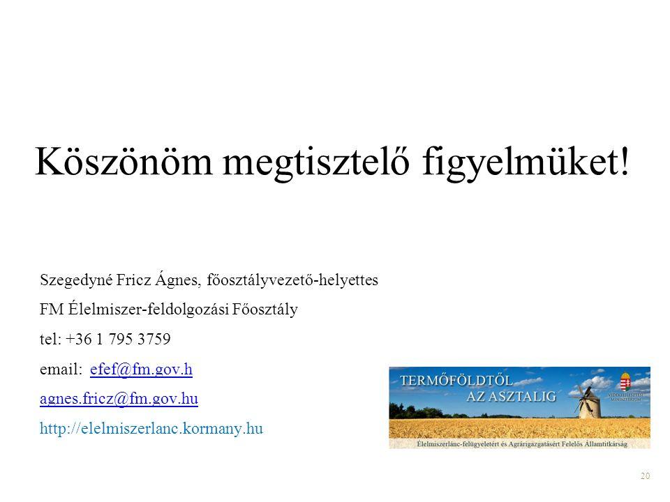 20 Szegedyné Fricz Ágnes, főosztályvezető-helyettes FM Élelmiszer-feldolgozási Főosztály tel: +36 1 795 3759 email: efef@fm.gov.hefef@fm.gov.h agnes.fricz@fm.gov.hu http://elelmiszerlanc.kormany.hu Köszönöm megtisztelő figyelmüket!
