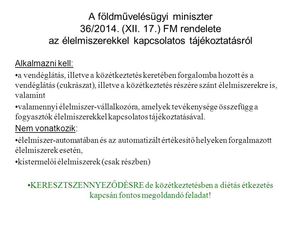 A földművelésügyi miniszter 36/2014. (XII. 17.) FM rendelete az élelmiszerekkel kapcsolatos tájékoztatásról Alkalmazni kell: a vendéglátás, illetve a