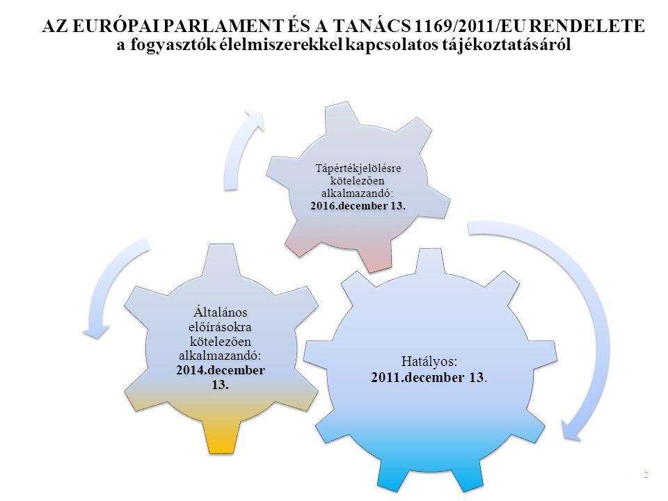 2 AZ EURÓPAI PARLAMENT ÉS A TANÁCS 1169/2011/EU RENDELETE a fogyasztók élelmiszerekkel kapcsolatos tájékoztatásáról Hatályos: 2011.december 13. Általá
