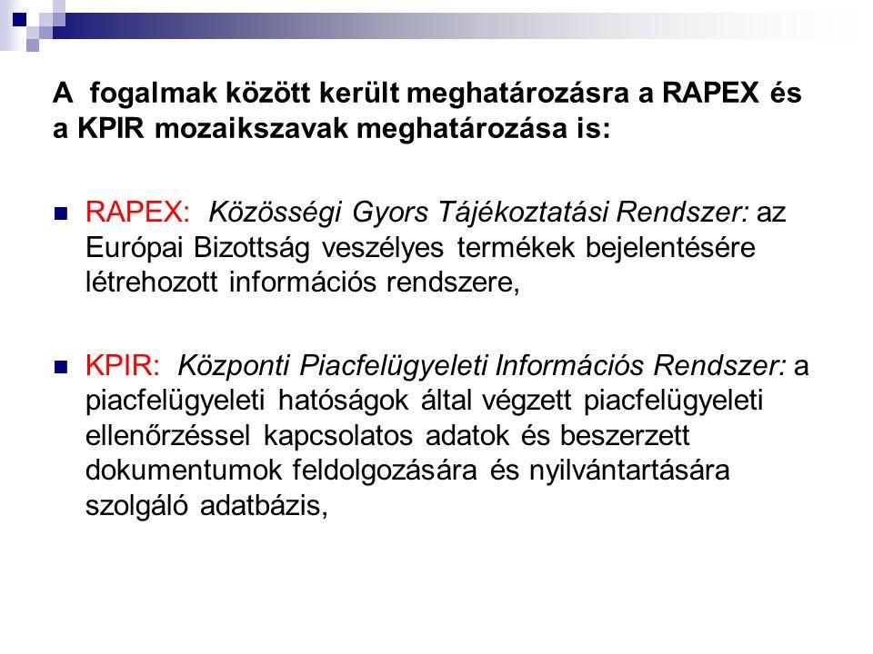 A fogalmak között került meghatározásra a RAPEX és a KPIR mozaikszavak meghatározása is: RAPEX: Közösségi Gyors Tájékoztatási Rendszer: az Európai Bizottság veszélyes termékek bejelentésére létrehozott információs rendszere, KPIR: Központi Piacfelügyeleti Információs Rendszer: a piacfelügyeleti hatóságok által végzett piacfelügyeleti ellenőrzéssel kapcsolatos adatok és beszerzett dokumentumok feldolgozására és nyilvántartására szolgáló adatbázis,