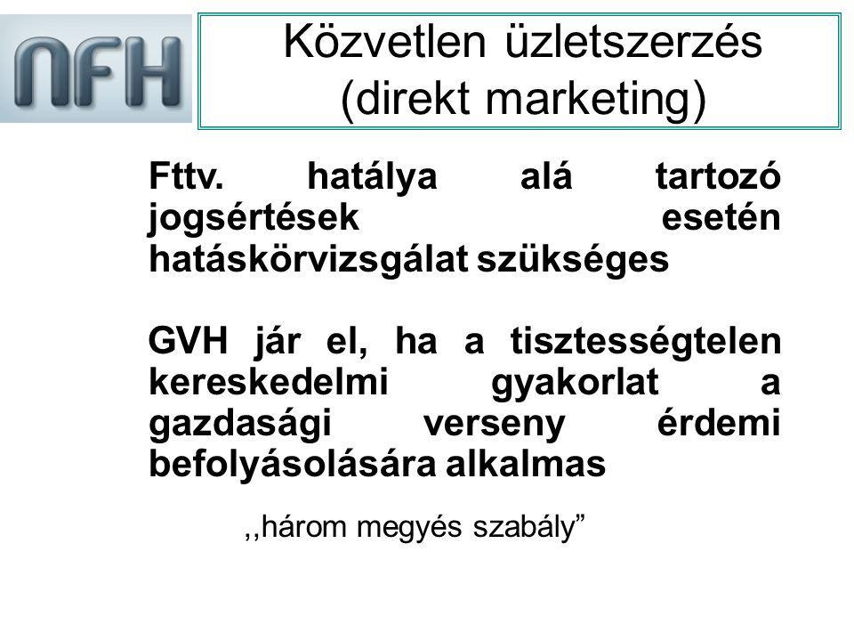 Közvetlen üzletszerzés (direkt marketing) Fttv.