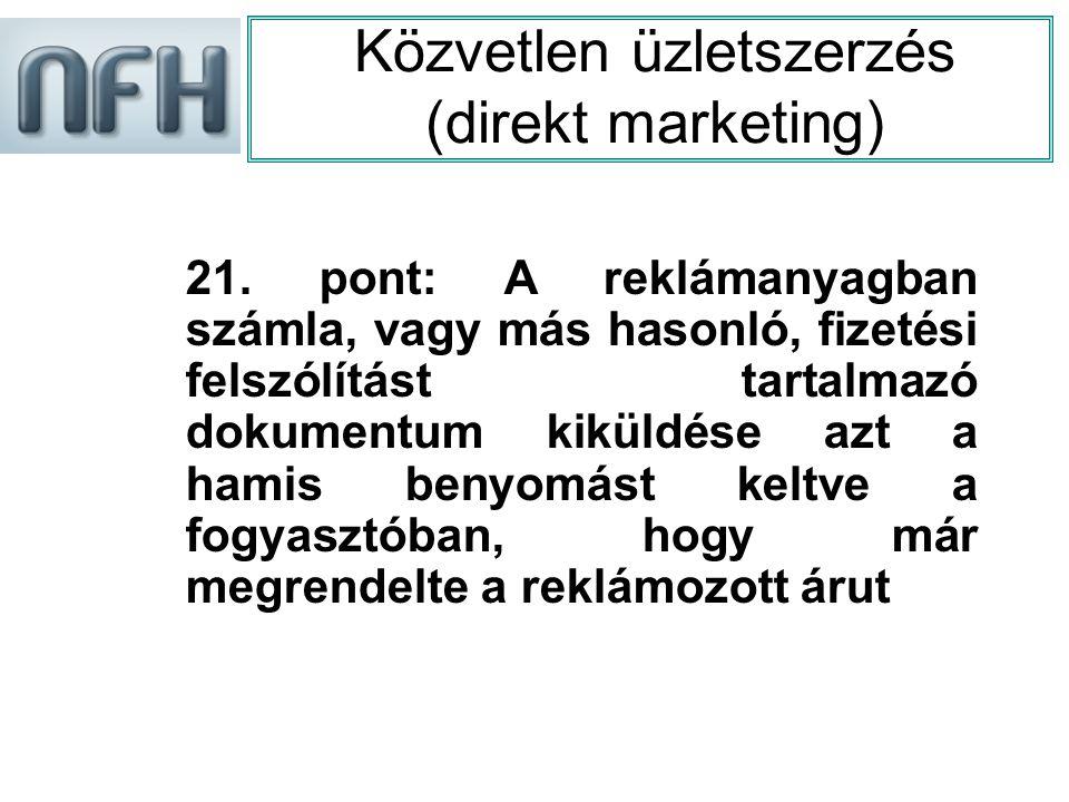 Közvetlen üzletszerzés (direkt marketing) 21.