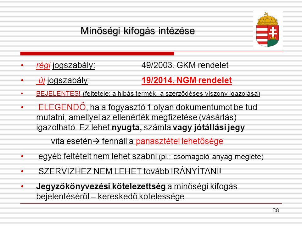 Minőségi kifogás intézése régi jogszabály: 49/2003. GKM rendelet új jogszabály: 19/2014. NGM rendelet BEJELENTÉS! (feltétele: a hibás termék, a szerző