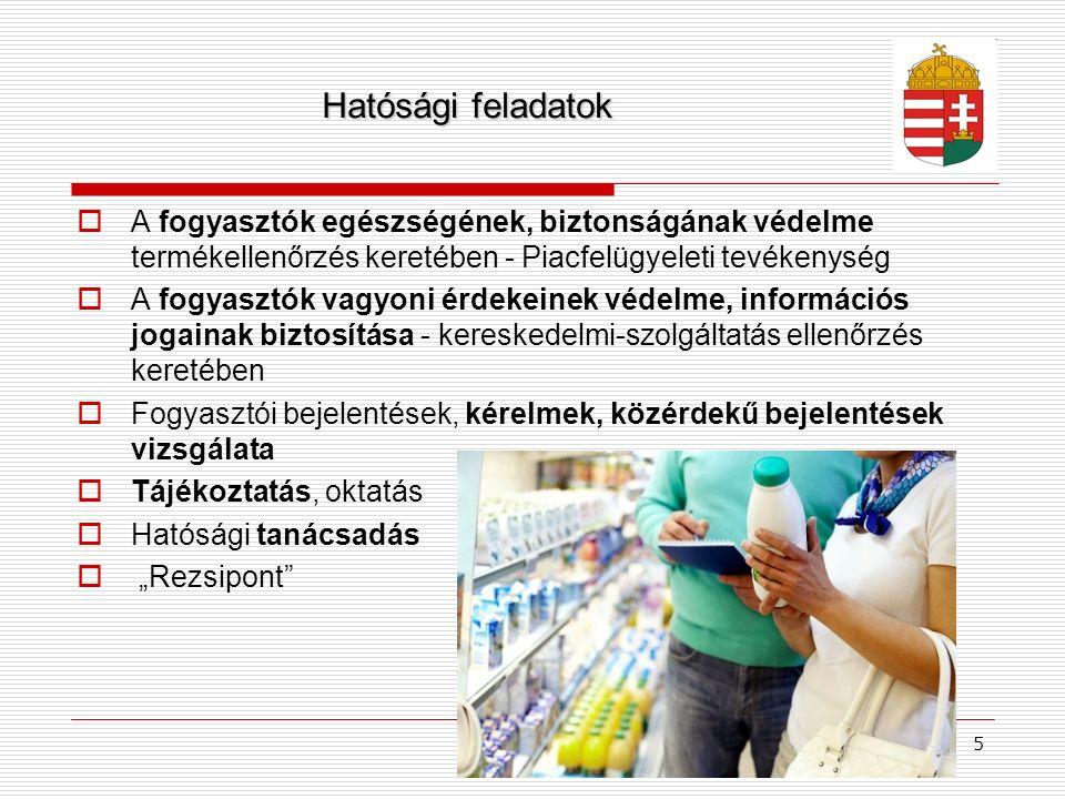 5 Hatósági feladatok  A fogyasztók egészségének, biztonságának védelme termékellenőrzés keretében - Piacfelügyeleti tevékenység  A fogyasztók vagyon