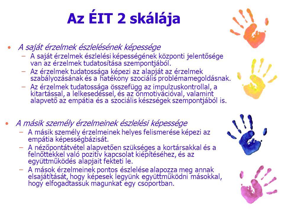 Az ÉIT 2 skálája A saját érzelmek észlelésének képessége –A saját érzelmek észlelési képességének központi jelentősége van az érzelmek tudatosítása sz
